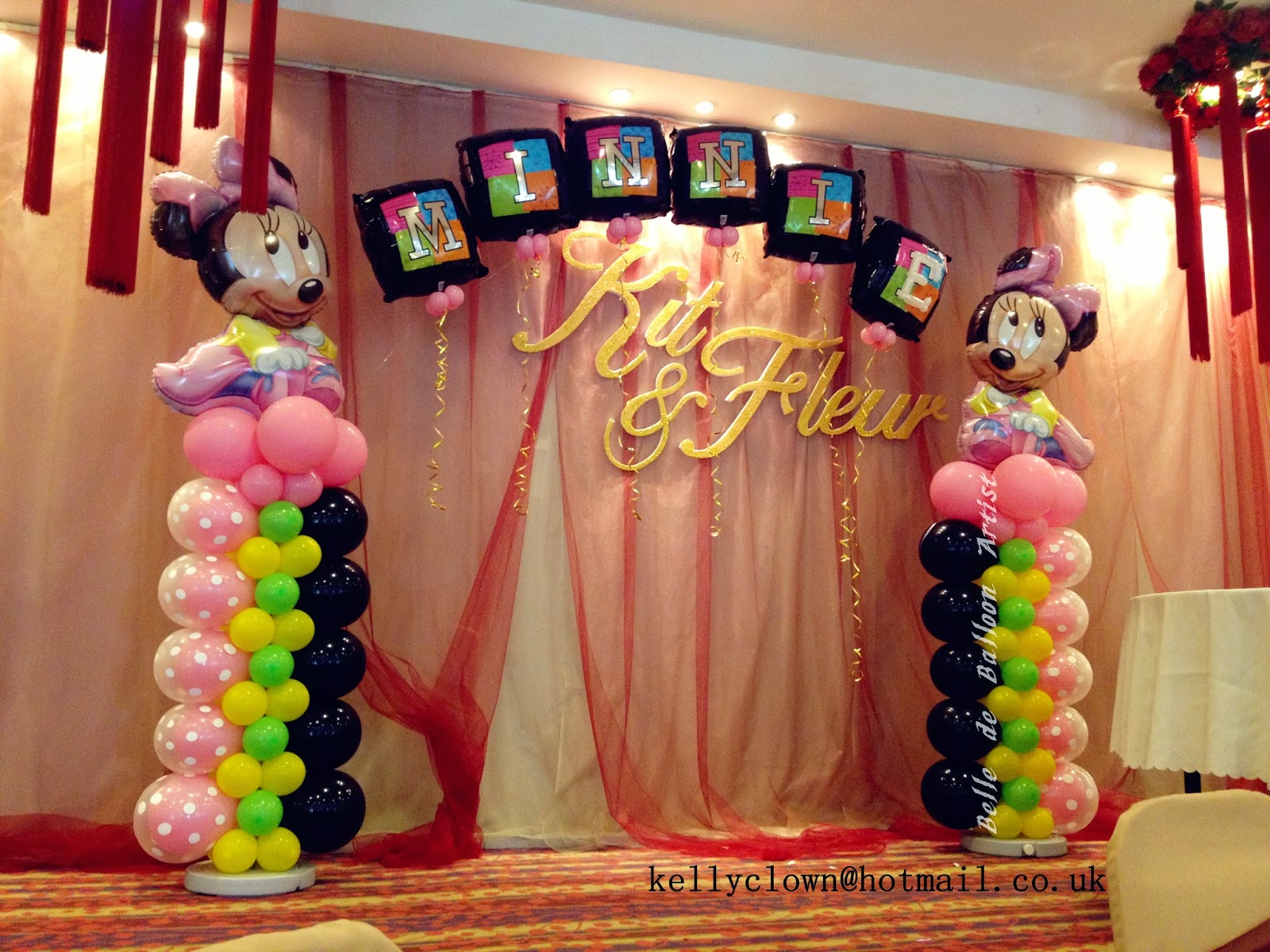 Belle de balloon artist mickey minnie themed balloon for Baby birthday decoration photos
