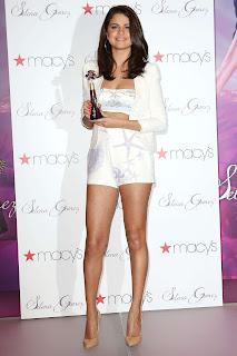 Selena Gomez Spotted at her Perfume Launch Lovely Small Shorts and Silver Top