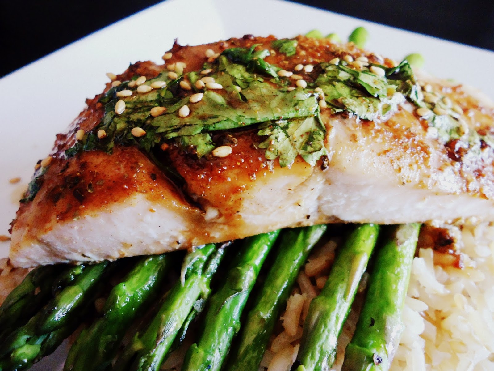 ... & Fabulous: Asian Glazed Sesame Salmon with Asparagus and Brown Rice