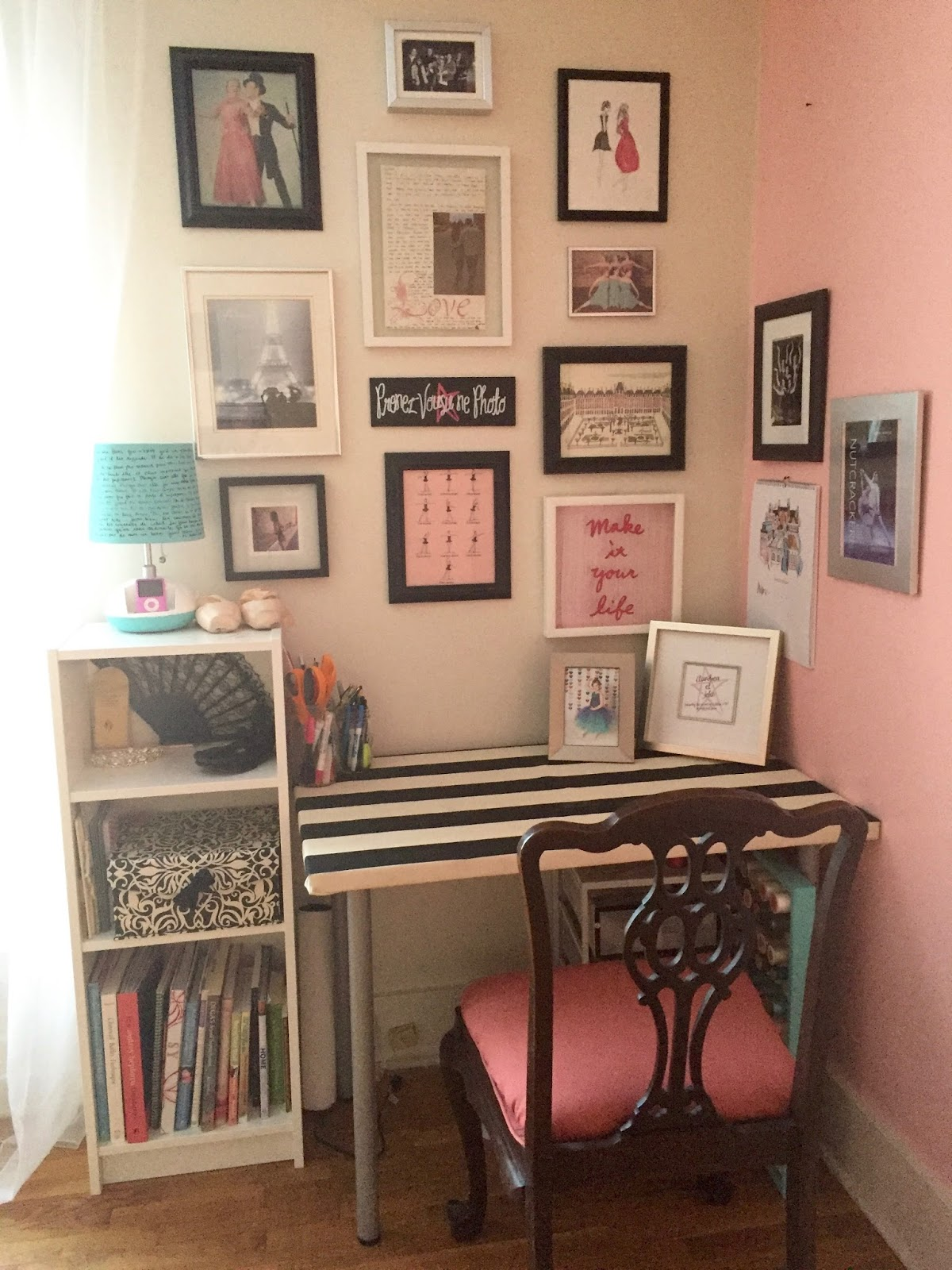 tiny office. DIY Home (Ballet) Studio/Guest Room/Office/Playroom Combo Tiny Office