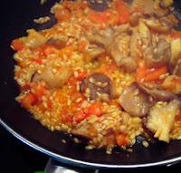 elaboración arroz con setas
