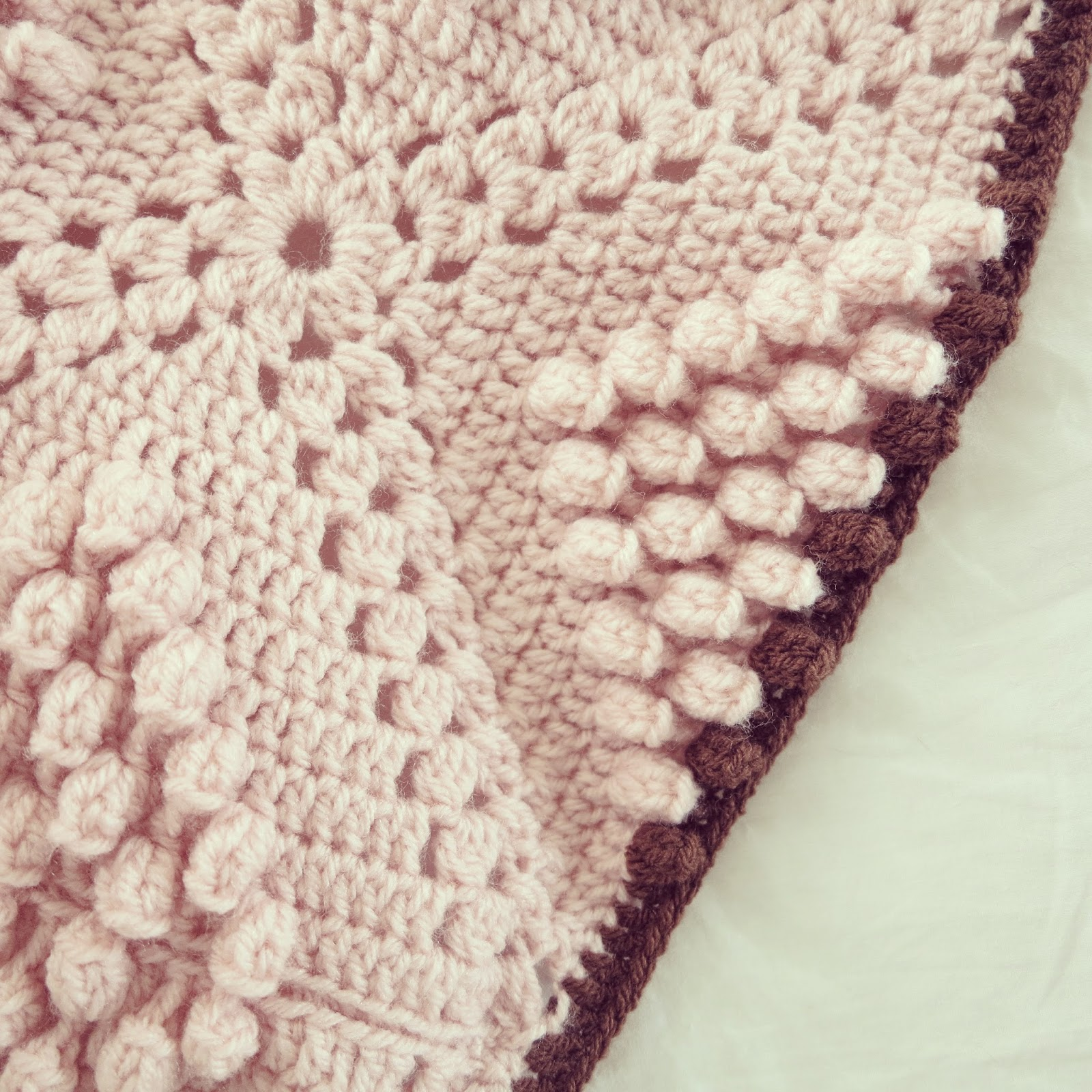 Crochet Popcorn Stitch : ByHaafner, crochet, popcorn, bobble stitch throw, blanket, powder pink ...