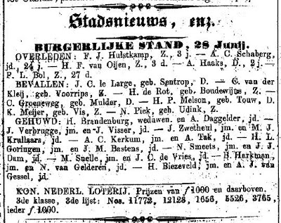 Newspaper cutting listing the marriage of Henderik Brandenburg and Anna Daggelder