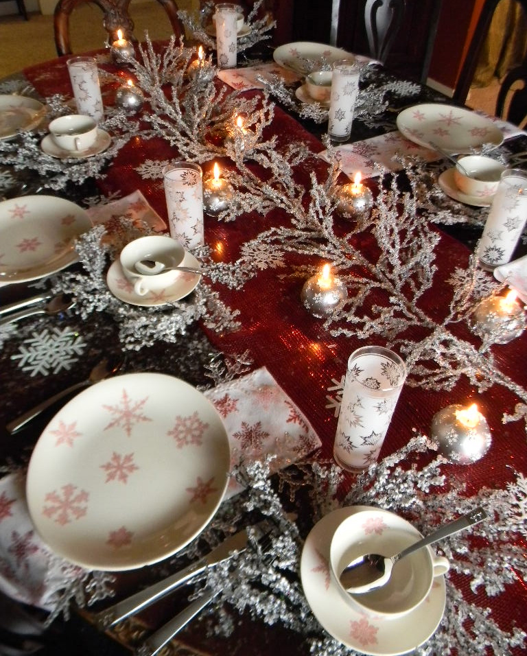 Snow Crystals Pink Transferware Christmas Tablescape