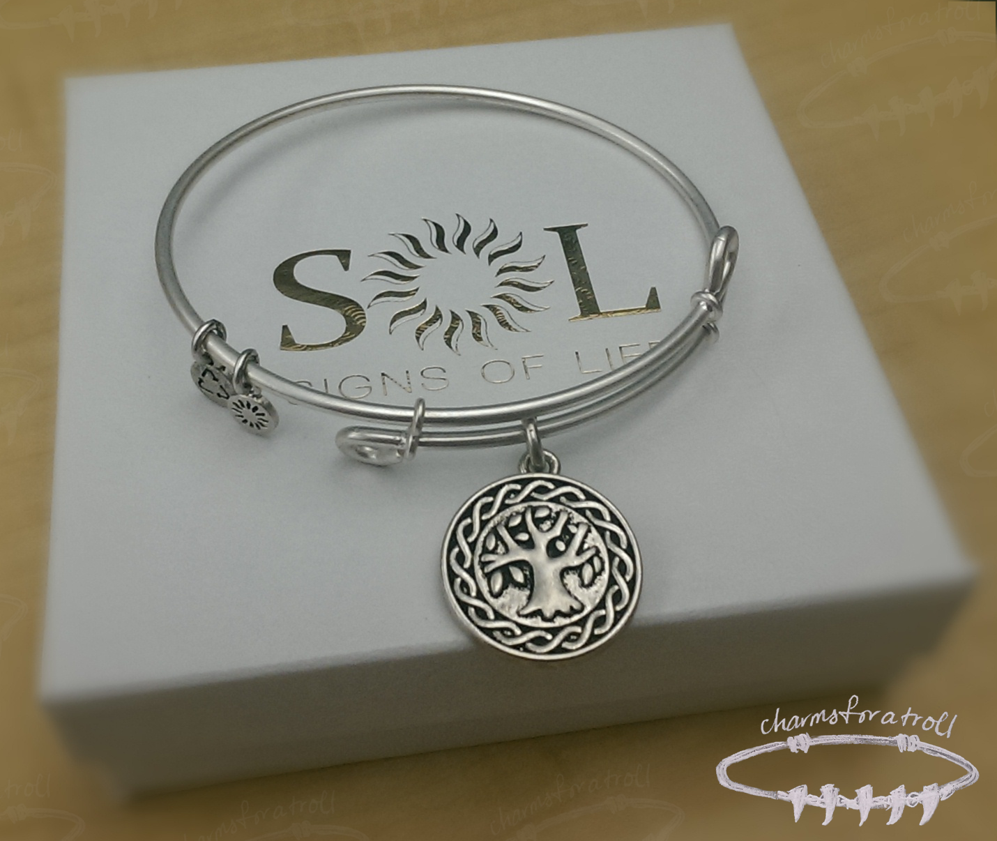 SOL Tree of Life Antique Silver Finish Bangle