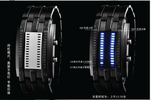LED indicator watch