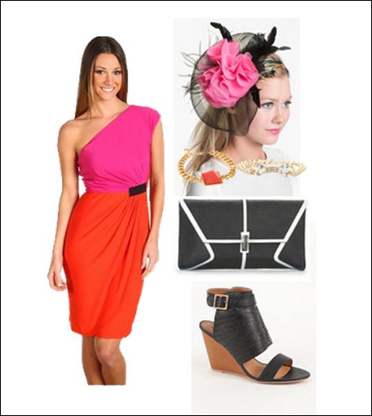 color blocking derby dress pink fascinator
