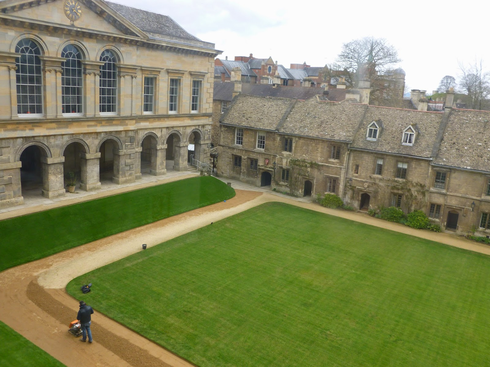 Worcester College Gardeners Renovating The Path In The Quad