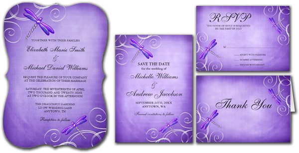 Purple Dragonfly Swirls Wedding Invitations