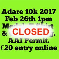 Adare 10k road race...Sun 28th Feb 2017