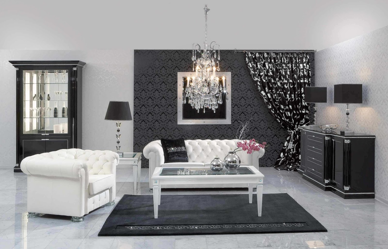Salon Moderne Contemporain : Black and White Living Room Ideas