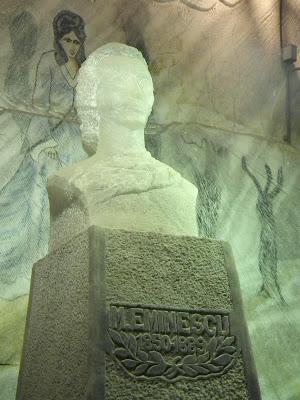 Mihai Eminescu bust carved in salt, Unirea Salt Mine, Slanic Prahova