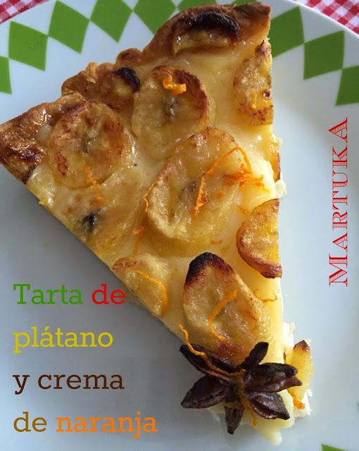 Tarta de Pl�tano Y Crema De Naranja