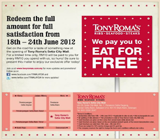 Love Freebies Malaysia: Freebies > Tony Roma's pay you to EAT FOR