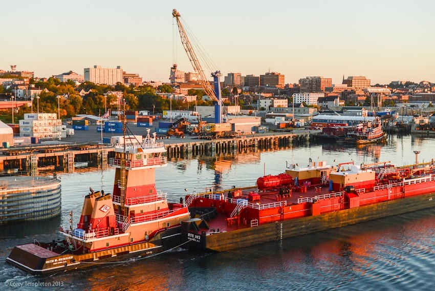 Portland, Maine USA Fall September 2013 Skyline Photo with Barge and Tugboat photo by Corey Templeton