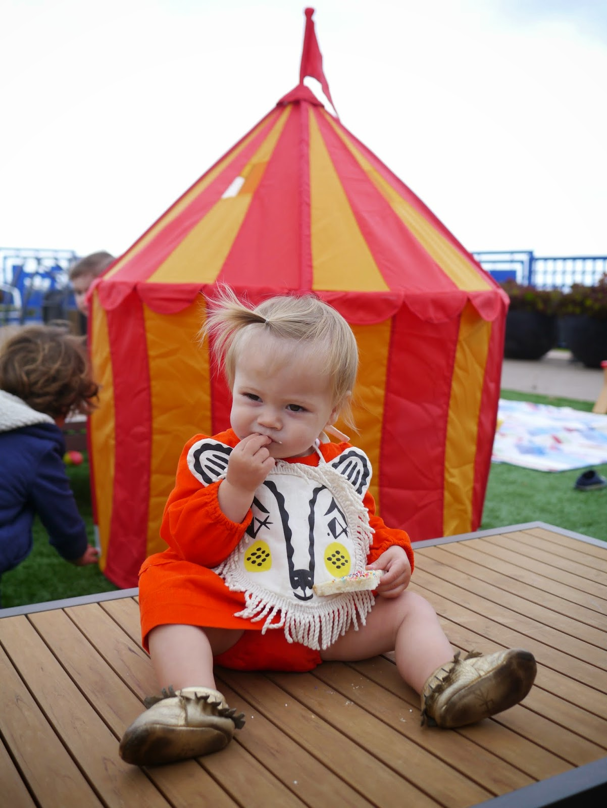 on saturday we celebrated birthday with a circus themed party with friends up on our roof deck i had been a little worried that weu0027d have to