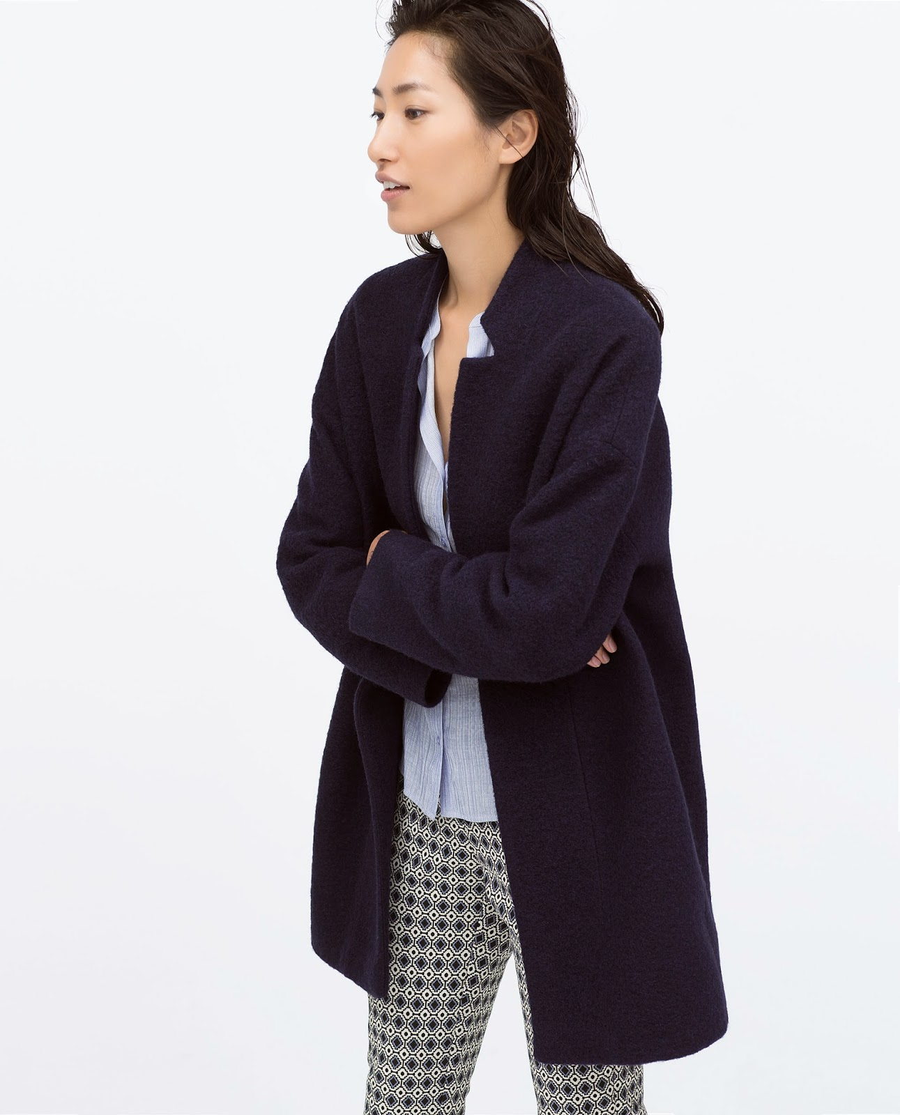 zara navy wool coat
