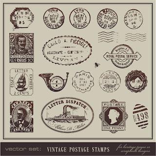年代物の切手と消印スタンプ vintage postcards and postage stamps イラスト素材