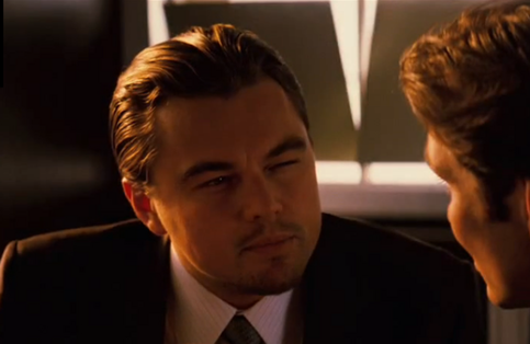 Leonardo DiCaprio's skeptical face from Inception