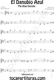 Partitura de El Danubio Azul para Cornos y Trompa de Johann Strauss The Blue Danube Sheet Music for Horn Classical music