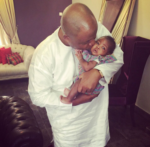 Davido shares new photo of his daughter, Imade with his Granddad
