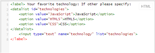 Code for Datalist in HTML5