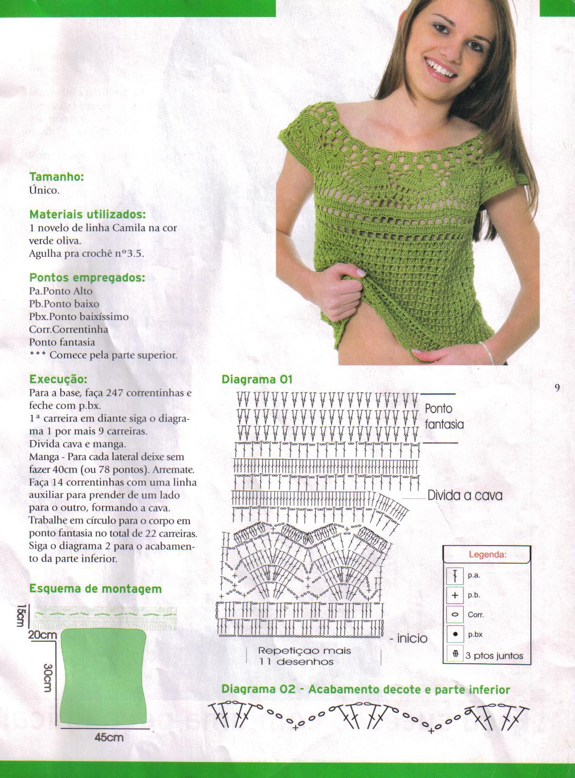Patrón: Blusa verde con canesú super femenina :)