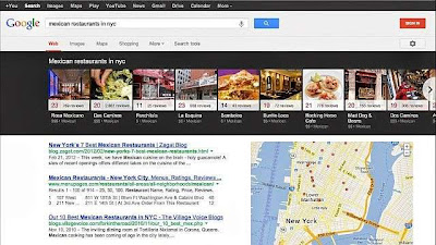 Google search to give 'Carousel' type search results for eateries, Restaurants and more in US