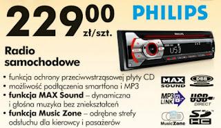 Radio samochodowe Philips CD z Biedronki ulotka