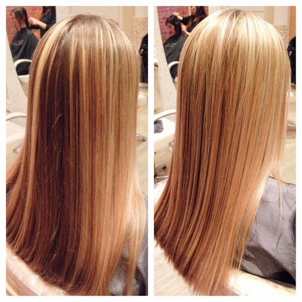 golden blonde highlights on long hair