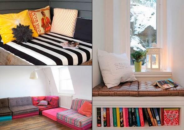livros almofada colchão sofá cantinho cafofo