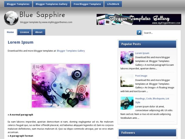 BlueSapphire Blogger Template
