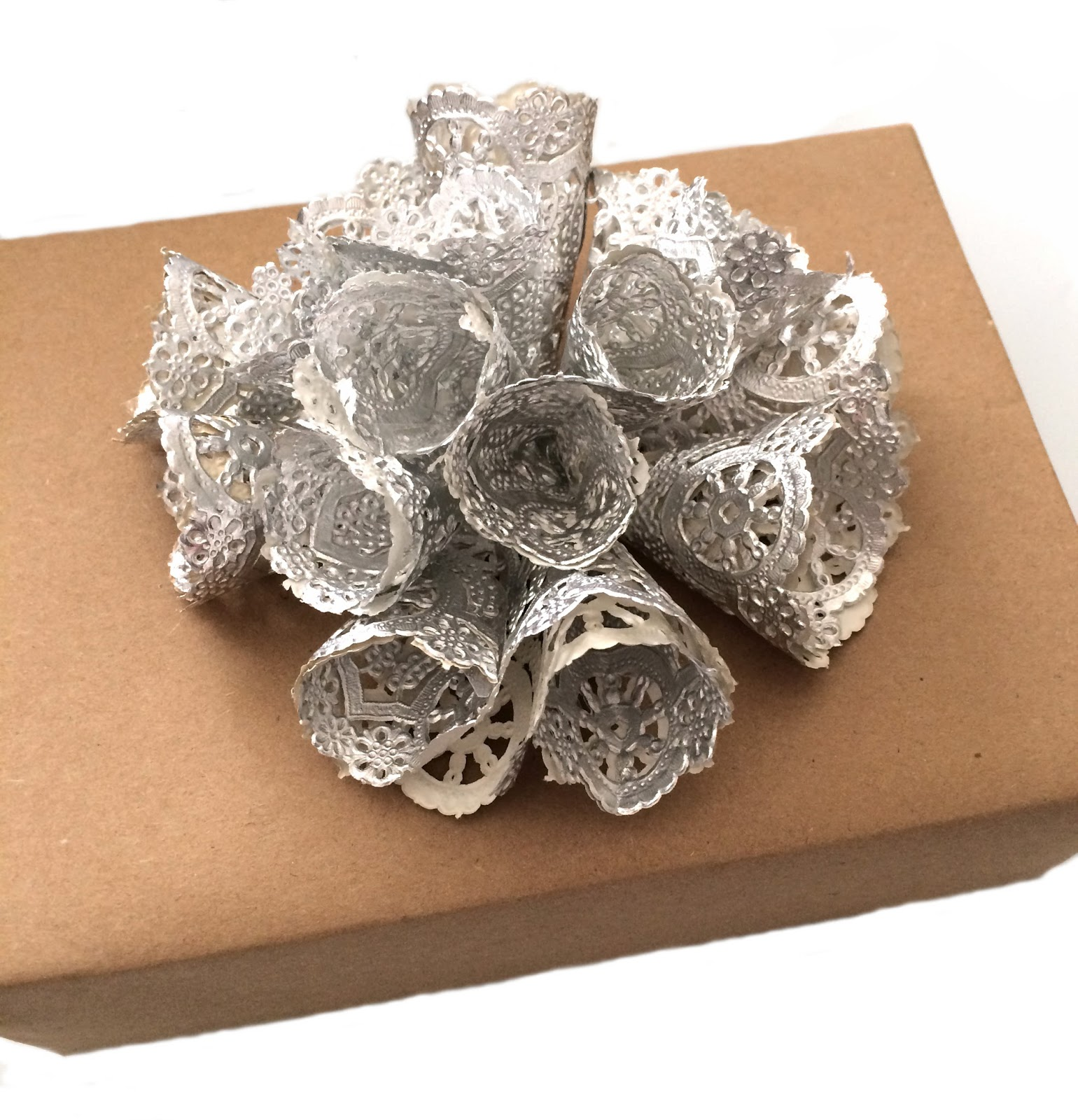 Silver doily gift bows