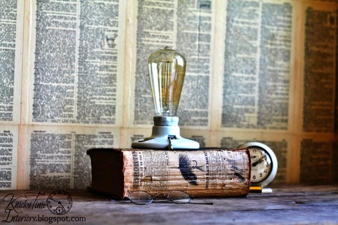 Vintage Repurposed Book Lamp via http://knickoftimeinteriors.blogspot.com/