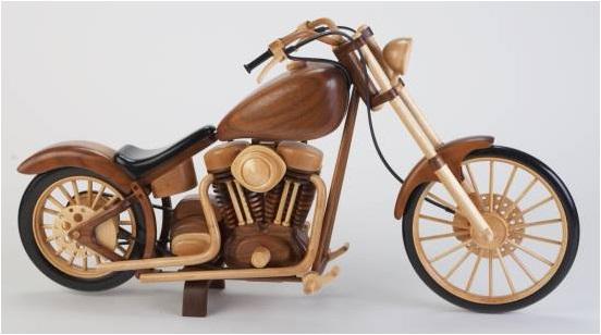 el yapımı ahşap motosiklet maketi