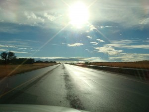 low sun, sun glare, sun dazzle on windscreen of car
