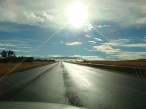 low sun, sun glare, sun dazzle on windscreen of car