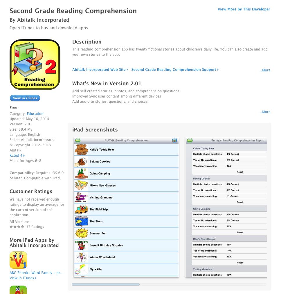 Free Ios App Today Second Grade Reading Comprehension Teacherlink