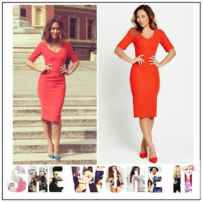 Back Detail, Bright, Celebrity Fashion, Celebrity Style, Dress, Exposed Zip, Half Sleeve, Myleene Klass, Myleene Klass For Littlewoods, Pencil Dress, Red, Tailored, V-Neck,