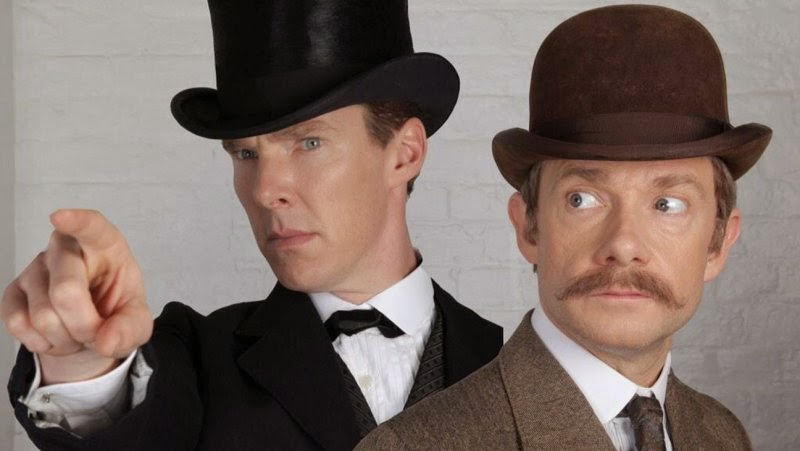 Benedict Cumberbatch and Martin Freeman in Victorian costume