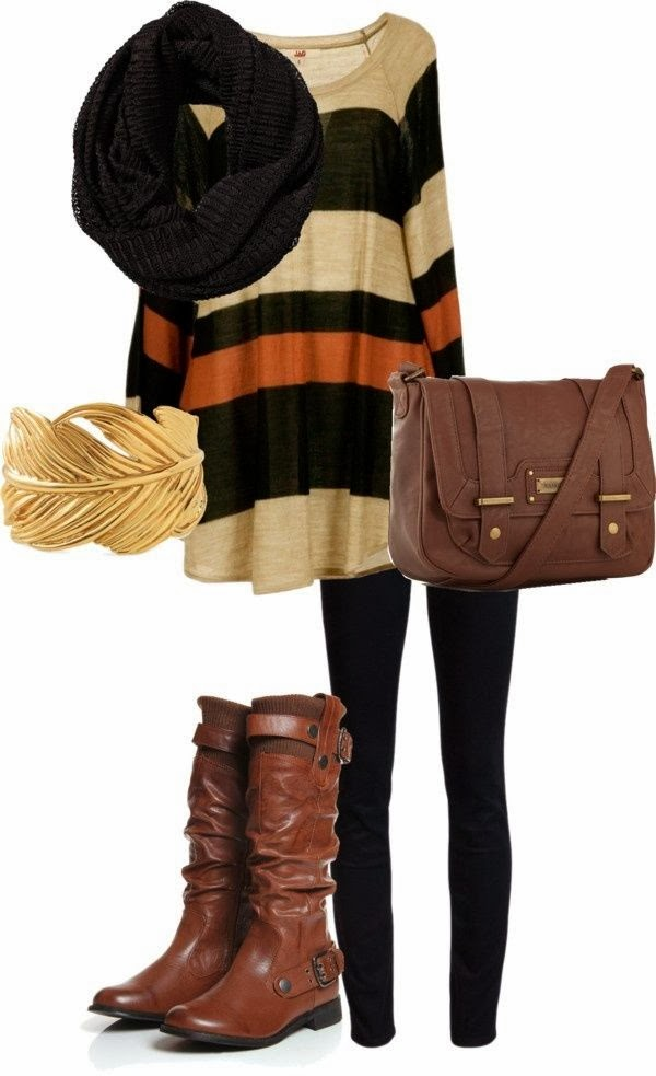 Adorable Fall and Winter  Outfit of Black Woolen Scarf, Sweater, Black Leggings, Long Brown Leather Shoes and Hand bag