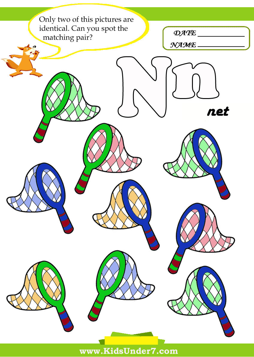 Kids Under 7 Letter N Worksheets – Letter N Worksheets for Kindergarten