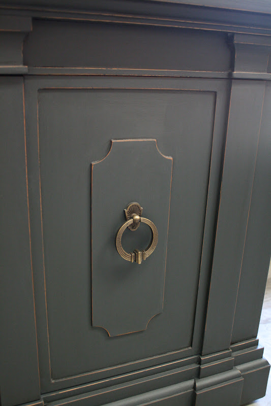Reloved rubbish vintage sideboard in graphite for Dark grey furniture paint