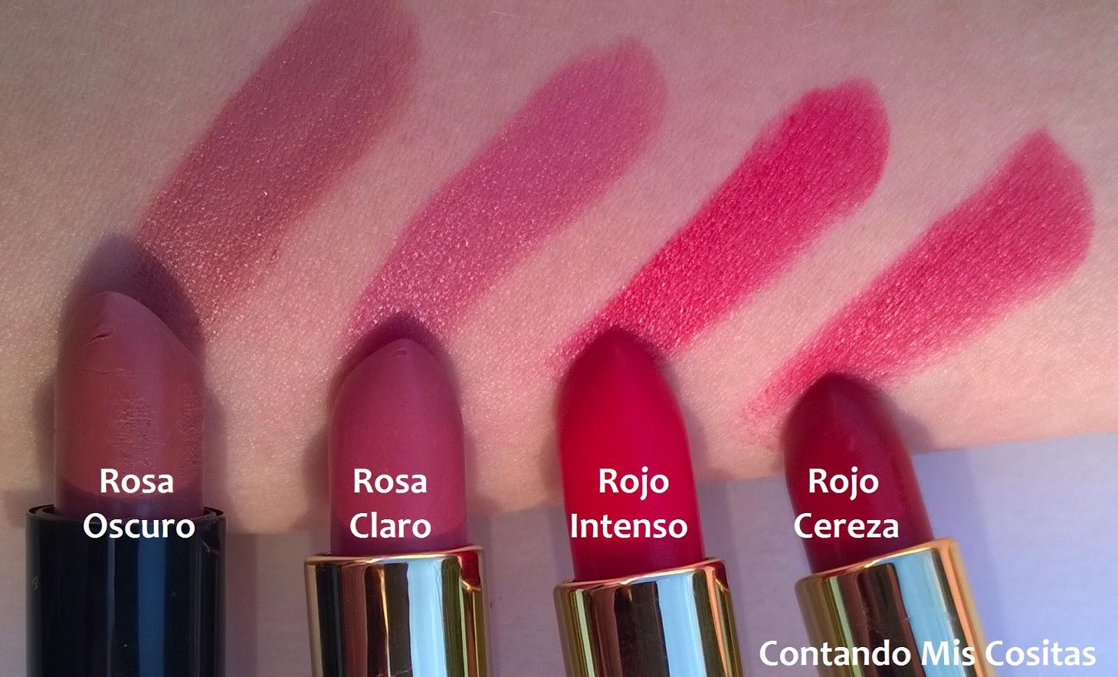 labial lina bocardi glamour rojo rosa cereza claro oscuro intenso