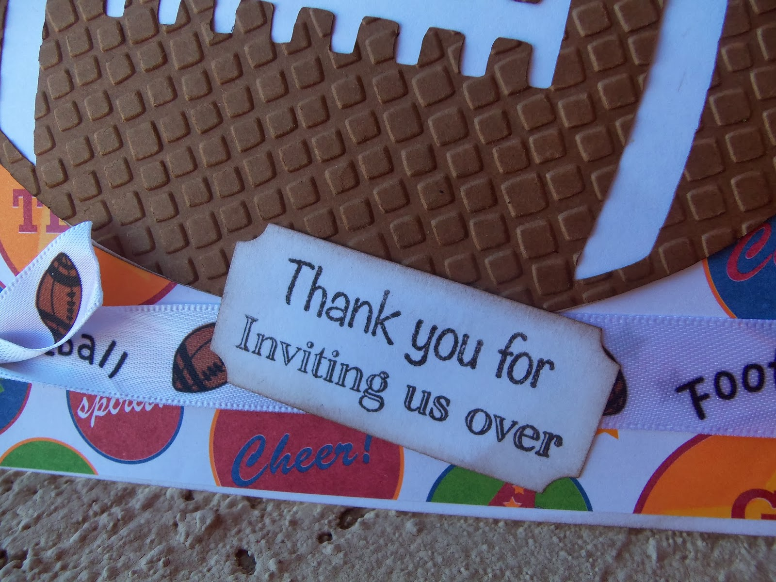 Doubleclick aka abusybee thank you for inviting us over super mosaic cuttlebug embossing folder i found football ribbon in my stash paper from scrap pile cupid copper skittles doubleclick thank you for inviting us filmwisefo