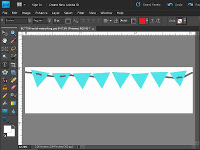 Draw lines with drawing tool for Bunting string design