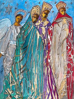 En la imagen los tres reyes magos custodiados por un angel