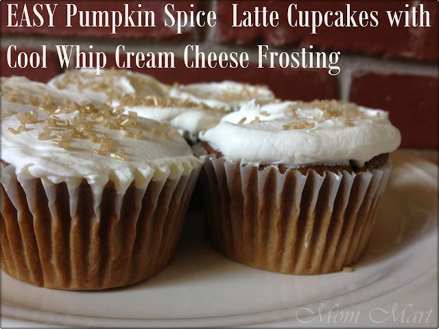 Easy Pumpkin Spice Latte Cupcakes with Cool Whip Cream Cheese Frosting