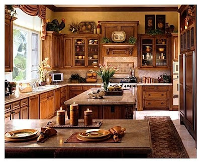 french country kitchen design in brown and decoration