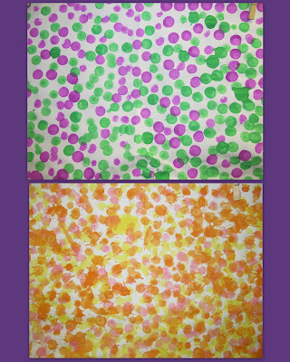 photo of: preschool art as pointilism, art for children in the style of the Masters